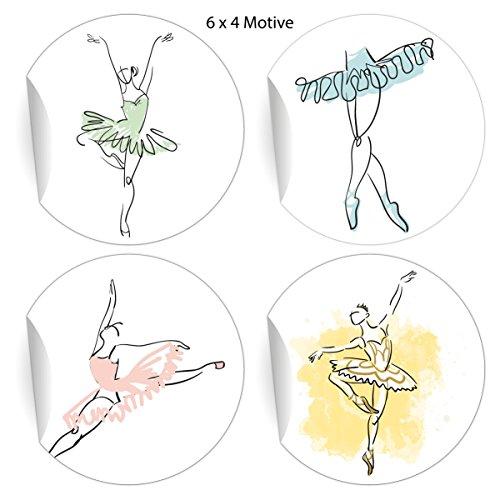 24 elegante balletstickers met dansende ballerina, matte papieren stickers voor geschenken, universele etiketten voor tafeldecoratie, pakketten, brieven en meer (ø 45 mm; 6 x 4 motieven) 5 x 24 stickers
