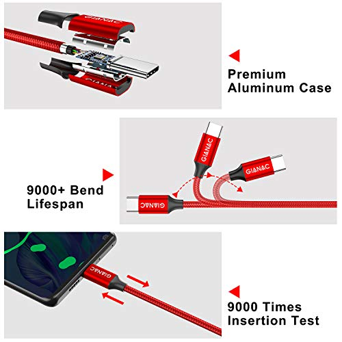 USB C Kabel, 5Pack [0.25M 0.5M 1M 2M 3M] Typ C Kabel, USB C Ladekabel und Datenkabel Fast Charge Sync Schnellladekabel Cable für Samsung Galaxy S10/S9/S8+,Huawei P30/P20,Google Pixel,OnePlus 6T--Rot
