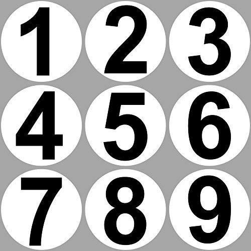 GreenIT 9 Aufkleber 20cm Sticker 1 bis 9 Startnummern Nummern Zahlen Auto Tor Halle Garage Werkstatt Müllkontainer