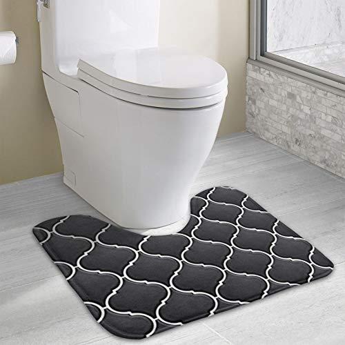Alfombrilla de baño antideslizante, ultra microfibra para ducha, inodoro, absorbente de agua (40 x 49 cm, azulejos y blancos)