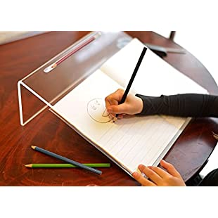 Ergonomically Designed Writing Slope, Non Slip with Pen/Pencil Groove | Clear Acrylic Ergonomic Writing Slope:Superclub