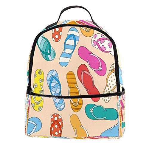 Aitai - Mochila de piel sintética con patrón de zapatillas de playa para exteriores, escuela, universidad, mochila para hombre y mujer
