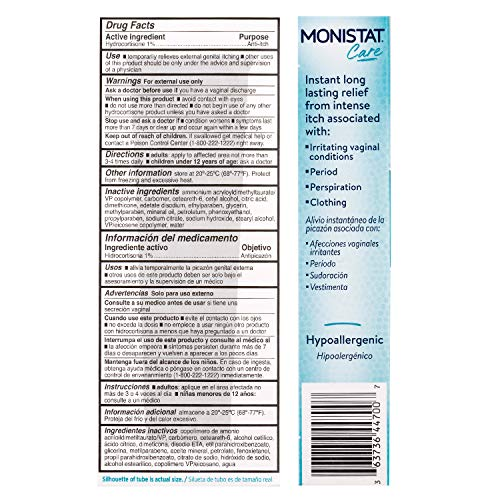 Monistat Care Instant Itch Relief Cream-Max Strength (Packaging may vary), White