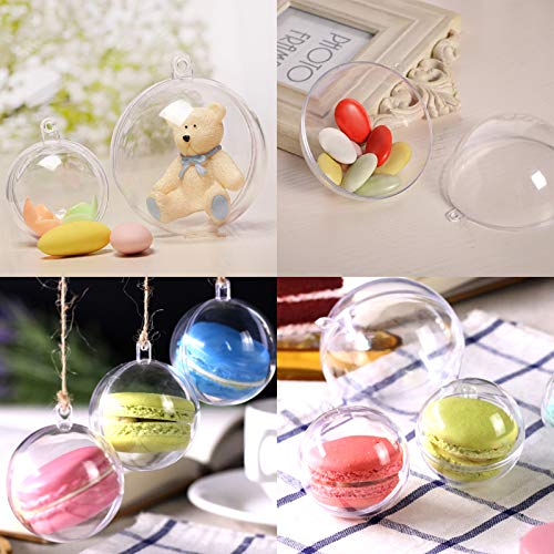 20pcs Christmas Tree Baubles Decorations Clear Round Glass Fillable Plastic Craft Balls Ornaments (8CM)