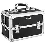 [page_title]-SONGMICS Kosmetikkoffer schminkkoffer XXL groß für Gepäck, Alu multikoffer etagenkoffer mit Tragegurt 36,5 x 22 x 25 cm, Schwarz JBC228