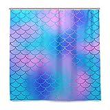 BALII Duschvorhang mit glitzerndem Meerjungfrauenschwanz, 183 x 183 cm, Polyester, wasserdicht, mit 12 Haken für Badezimmer
