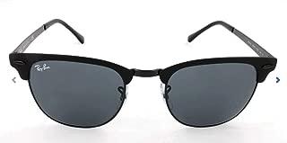 RAY-BAN RB3716 Clubmaster Metal Square Sunglasses, Black On Matte Black/Blue, 51 mm