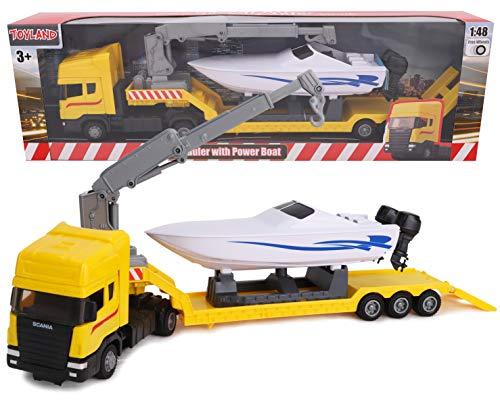 Toyland - Camion trasportatore a cassone Piatto Scania con Barca a Motore - Scala 1:48 - Pressofuso - Ruota Libera (Camion Giallo)