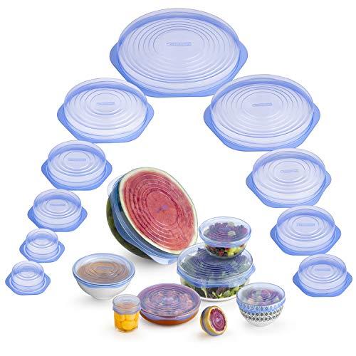 Monix - Coperchi in silicone riutilizzabili per alimenti, flessibili, durevoli e adattabili a varie forme, kit, M329015
