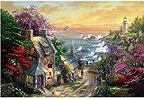 Rompecabezas de paisaje Seaside Town Rompecabezas cómico HD Imprimir póster Tangram 1000 Piezas Rompecabezas de madera Niños adultos Hogar Rompecabezas Avión Rompecabezas Descompresión Juguete Regalo
