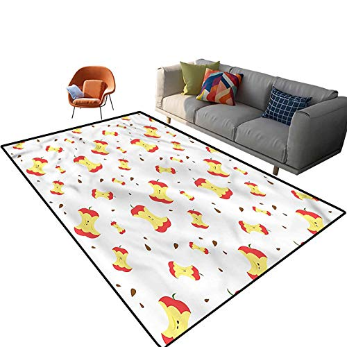 Indoor Room Printed Area Rugs,3'x 5',Eaten Fruit Daily Vitamin Floor Rectangle Rug with Non Slip Backing for Entryway Living Room Bedroom Kids Nursery Sofa Home Decor