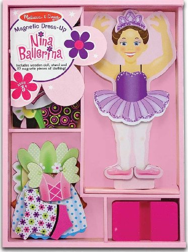 Melissa & Doug Nina Ballerina - Magnetic Dress Up Wooden Doll & Stand