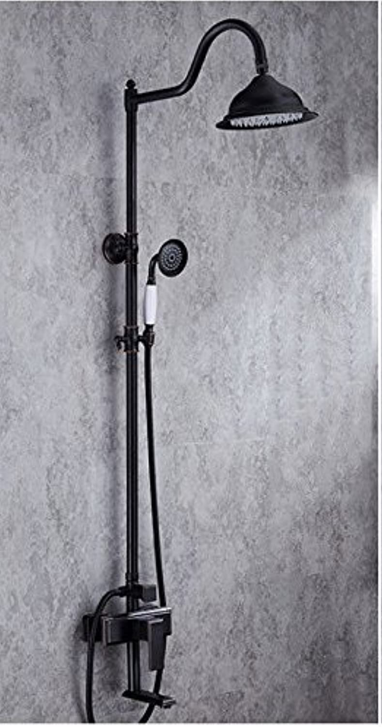 SADASD Modern Copper Bathroom Paint Black Shower Faucet Multi-Function Four-Speed Shower Faucet Set Hand-Held Lift Shower Hot and Cold Mixer Tap