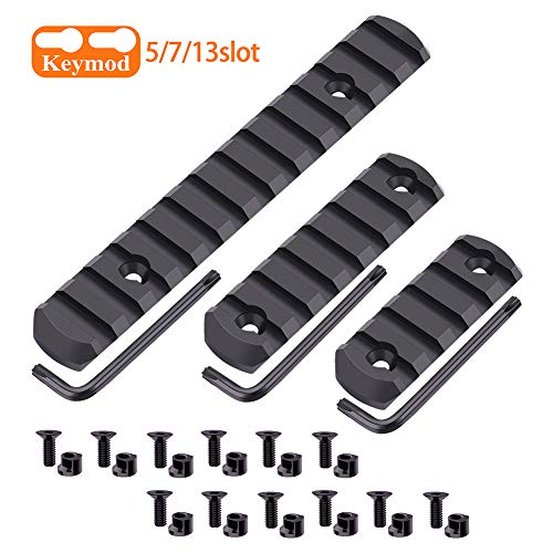 Fyland Keymod Picatinny Rail Sections, Aluminum Rail Mount Accessory Set for Keymod System with Allen Wrench, Keymod Replacement Screws and Nuts