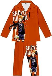 Pyjama Sets Anime Haikyuu!! Men'S Pajamas 2 Piece Printed Trousers Long Sleeve Unisex Nightwear Set
