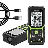 Huepar Laser Entfernungsmesser 100M mit Li-Ion-Akku, mit LCD Hintergrundbeleuchtung M/In/Ft mit Mehreren Messmodi wie Pythagoras/Abstand/Fläche/Volumen Messungen, Verwendung in Innenräumen LM100A