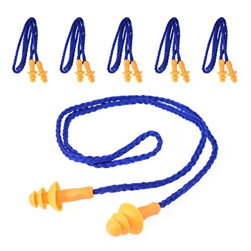 TankerStreet 5 Pair Ear Plugs Siliconeon String Earplugs for Sleeping Sleep...