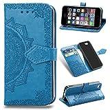 Funda para iPhone SE 4.0', iPhone 5s, iPhone 5 Carcasa Libro con Tapa Flip Case Antigolpes Golpes Cartera PU Cuero Suave Soporte con Correa Cordel - Mandala Azul