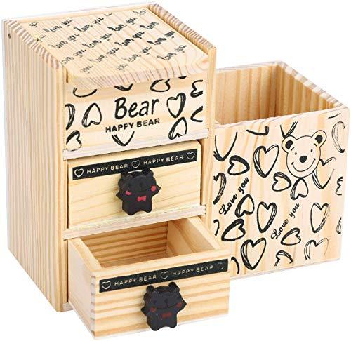 Organizador de madera para suministros de escritorio, organizador de lápices, contenedor con cajón, caja de almacenamiento, colección multifuncional, organizador de escritorio para tarjetas de visita para oficina, casa, escuela