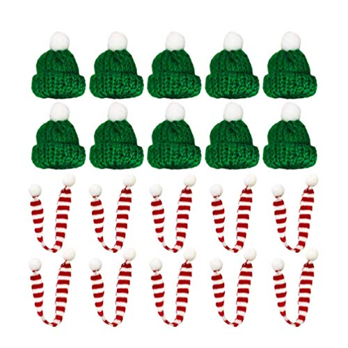 MxZas Weinflasche Schal-Hut Weihnachten Mini-Schal Pflanzen Dekor Puppenkleidung for Weihnachtsfeiertags-Hauptdekoration 20pcs Jzx-n (Color : Green 1, Size : 30 * 2CM)