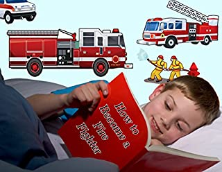 Create-A-Mural : Fantastic Fire Truck Wall Decals -Boys Room Wall Decor