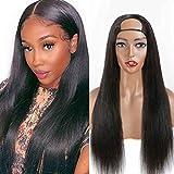 HAIRMASTER U Part Wig Human Hair Straight U Part Wigs for Black Women Human Hair 12A Brazilian Human Hair Wig With U Part 180% Density (14 Inch, Straight)