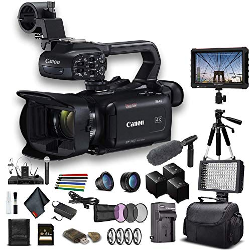 Canon XA40 Professional UHD 4K Camcorder (3666C002) W/ 2 Extra Battery, Soft Padded Bag, 64GB Card, 3 Piece Filter Kit, LED Light, Lenses, 4K Monitor, Sony Mic and More Professional Bundle (Renewed)