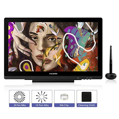 HUION Grafiktablett mit Display, KAMVAS GT-191 V2 Grafischer Zeichnungsmonitor mit blendfreiem Glasbildschirm, Batteriefrei, 100% sRGB-Farbraum, Stift-Display mit verstellbarem Standfuß