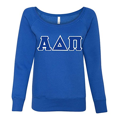 Alpha Delta Pi Fleece Wideneck Sweatshirt Small True Royal