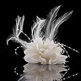 pulabo - fermaglio per capelli da sposa, a forma di fiore, con piuma, ideale come regalo per signora, per matrimonio, spilla da sposa