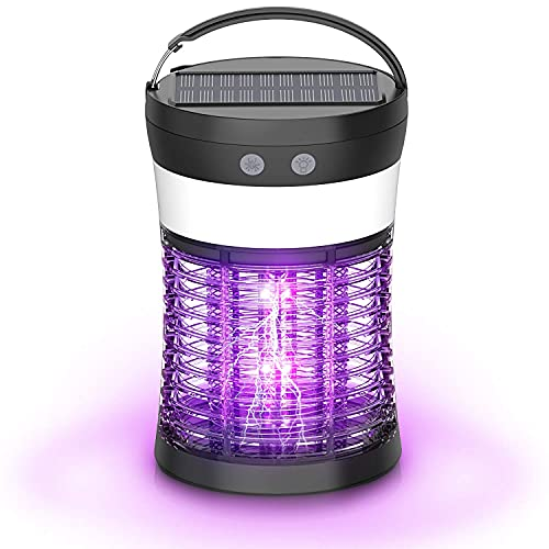 Bug Zapper, Electric Mosquito Killer with Solar Rechargeable Battery for Flies, Mosquitoes, Gnats & Other Flying Pests, 3 Light Modes, Waterproof Insect Pest Non Toxic Fly Zapper for Indoor & Outdoor