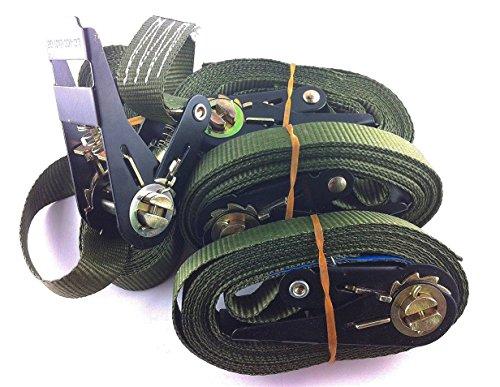 Set prijs 4 stuks. Sjorriemen spanbanden ratelriem kleur naar keuze 800 kg 4 meter En12195-2 (6 meter, olijf)
