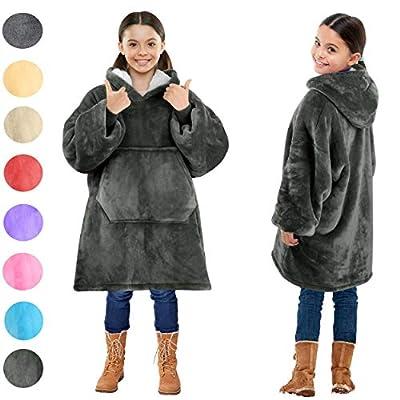 Blanket Sweatshirt, Super Soft Warm Cozy Wearable Sherpa Hoodie for Teens, Boys, Girls, Youth, Kids (7-15yr), Oversize, Reversible, Hood & Large Pocket, One Size, Gray