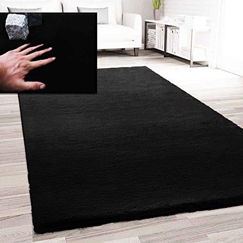 VIMODA Fellteppich Kunstfell Teppich Imitat in Schwarz Dicht Flauschig Seidiger Glanz, Maße:60x110 cm