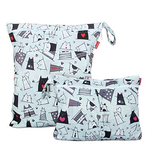 Damero 2 Stück windeltasche wetbag wiederverwendbar, Nasstaschen für Unterwegs, Wetbag windelbeutel für Babys Windeln, schmutzige Kleidung und anderes Zubehör, (Groß + Klein, Katze)