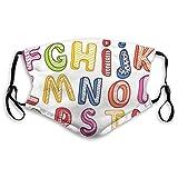 Hand gezeichnete Bunte 3D-Stil ABC Buchstaben mit Kindern Muster Joyful Fun Design Filtering Face Cover