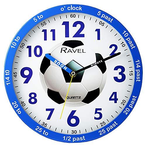 Ravel - Orologio da parete per bambini, 25 cm, motivo 'Time Teacher', colore: Blu