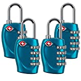 4 Dial Digit TSA Approved Travel Luggage Locks Combination for Suitcases (Blue-4 Pack)