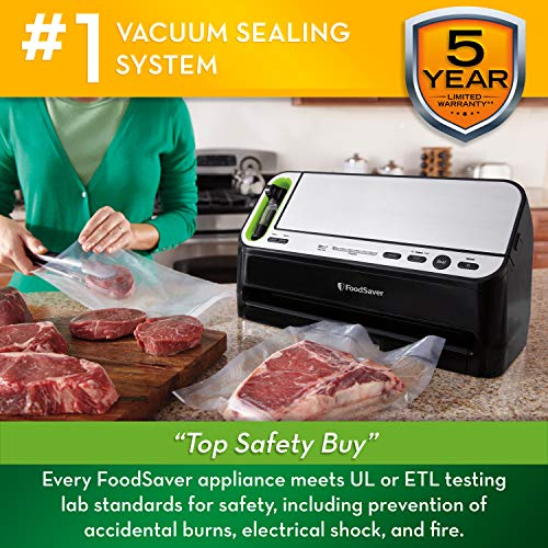 Foodsaver V4400 2-in-1 Vacuum Sealer Machine with Automatic Bag Detection and Starter Kit   Safety Certified   Black & Silver