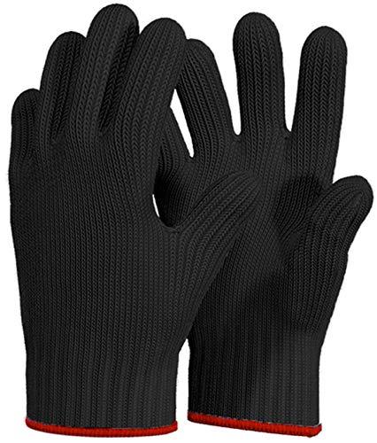 Lot de 2 gants de cuisine résistants à la chaleur avec doigts - Gants de cuisine en coton - Gants de cuisine avec doigts - Noir
