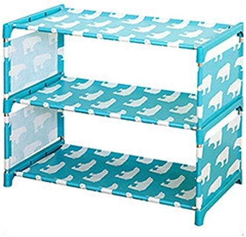 Wddwarmhome Estantería de Almacenamiento de Zapatos de Bricolaje 3 Capas Oxford Paño Paño de Hierro Pipa Hallway Door Organizer Holder, 18.1''x10''x14.78 '' (Color : Blue)