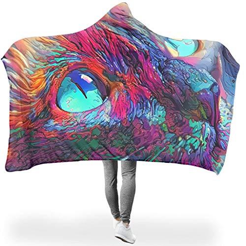 Bunte Malerei Katzenaugen mit Kapuze tragbare Decken, Sherpa-Fleece Kapuzendecken für Nickerchen White 150x200cm