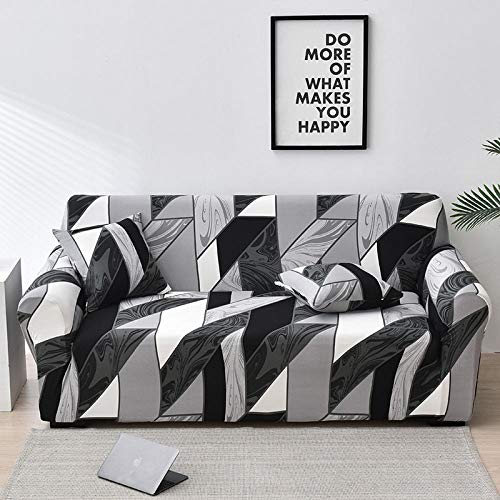 Funda de Sofá 2 Plazas Funda de Sofá Antideslizante con Diseño Elegante Universal Patrón de Mármol, Gris-Negro Funda Sofá Elástica Antideslizante Protector Cubierta de Muebles
