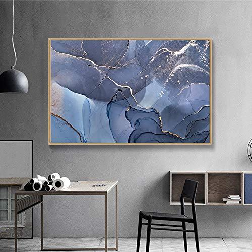 Lunderliny Abstracto Indigo Y Nubes Azules Pared Arte Lienzo Pintura Línea Dorada Cuadros De Pared para Sala De Estar Arte Entrence Decoración 50x70cm