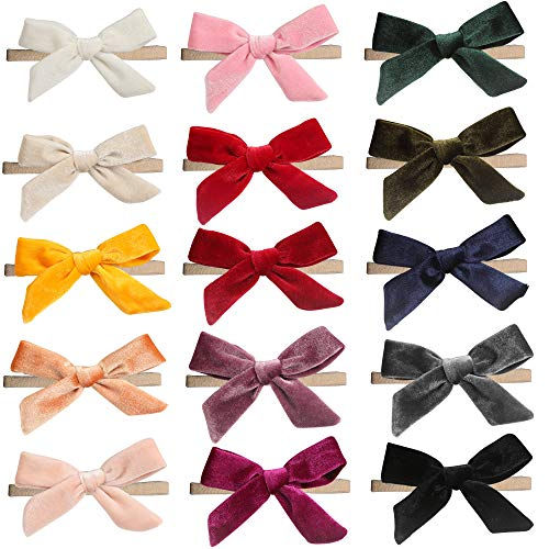 inSowni 15 Pack Solid Velvet Bow Super Stretchy Nylon Headbands Hairbands Accessories for Baby Girls Toddlers Newborns Infants Kids