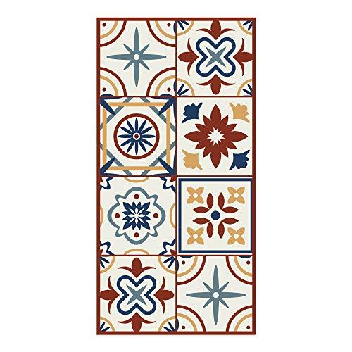 Alfombra Vinílica para Cocina, 80 x 40 cm, Baldosas de Colores, Fondo Beige, Alfombra de Vinilo Antideslizante y Lavable, Multiuso, ALV-038