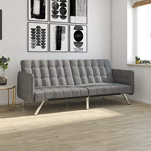 DHP Emily Convertible Futon & Sofa Sleeper With Chrome Legs,...