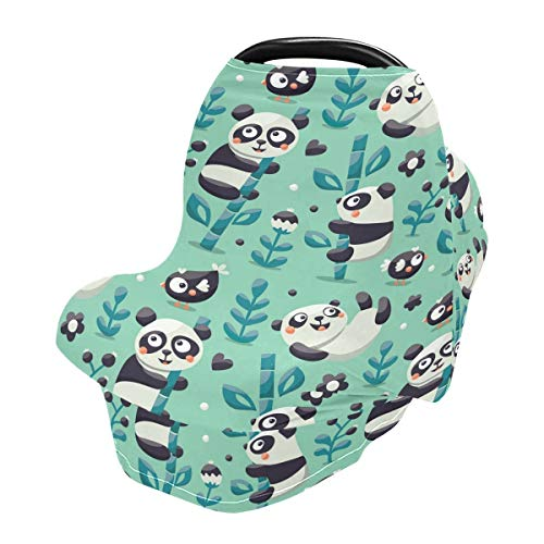Nursing Cover Breastfeeding Scarf Panda Bamboo- Baby Car Seat Covers, Infant Stroller Cover, Carseat Canopy for Girls and Boys(929a)