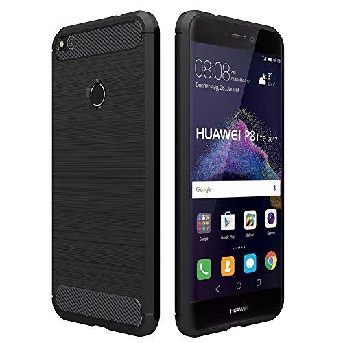 Simpeak Hülle Kompatibel für Huawei P8 Lite 2017, Premium Weiche Karbonfaser Elastisch Schützendes Rückseiten-Hülle Kompatibel mit Huawei P8 Lite 2017 [Fallschutz] [rutschfest] [Kratzfest] - Schwarz