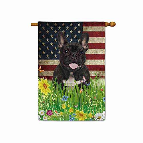 BAGEYOU French Bulldog House Flag Lovely Pet Dog American US Flag Wildflowers Floral Grass Spring Summer Decorative Patriotic Banner for Outside 28x40 Inch Printed Double Sided